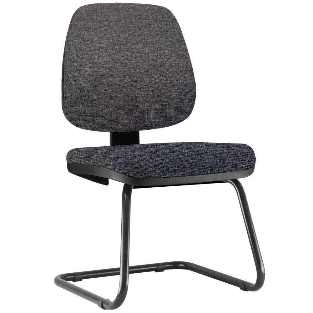 Cadeira Para Escritório Job L02 Fixa Linho Chumbo - Lyam Decor