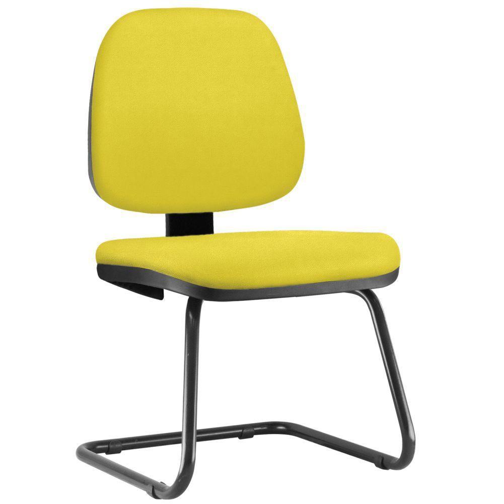 Cadeira Para Escritório Job L02 Fixa Suede Amarelo - Lyam Decor