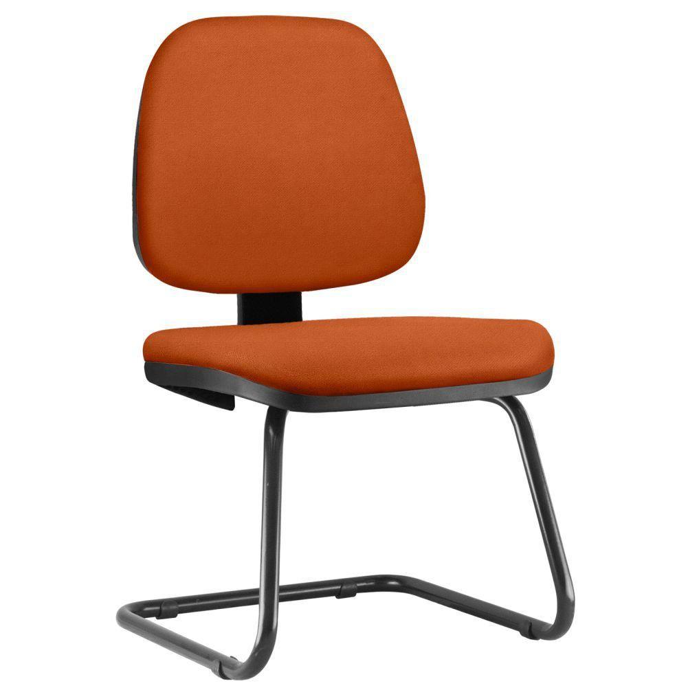 Cadeira Para Escritório Job L02 Fixa Suede Laranja - Lyam Decor