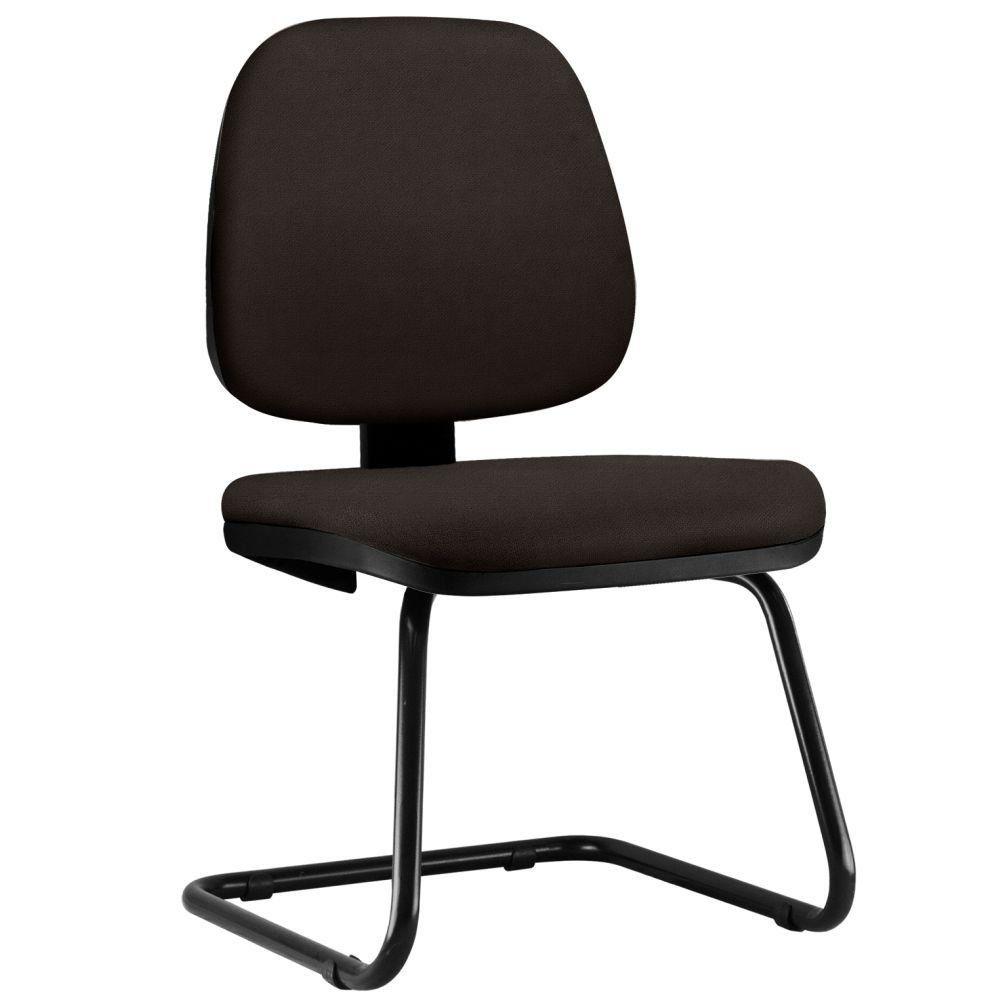 Cadeira Para Escritório Job L02 Fixa Suede Marrom - Lyam Decor