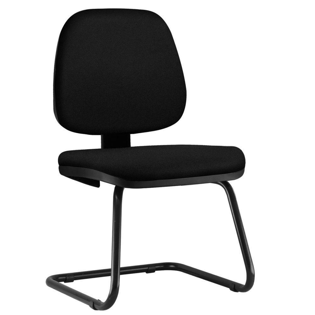 Cadeira Para Escritório Job L02 Fixa Crepe Preto - Lyam Decor