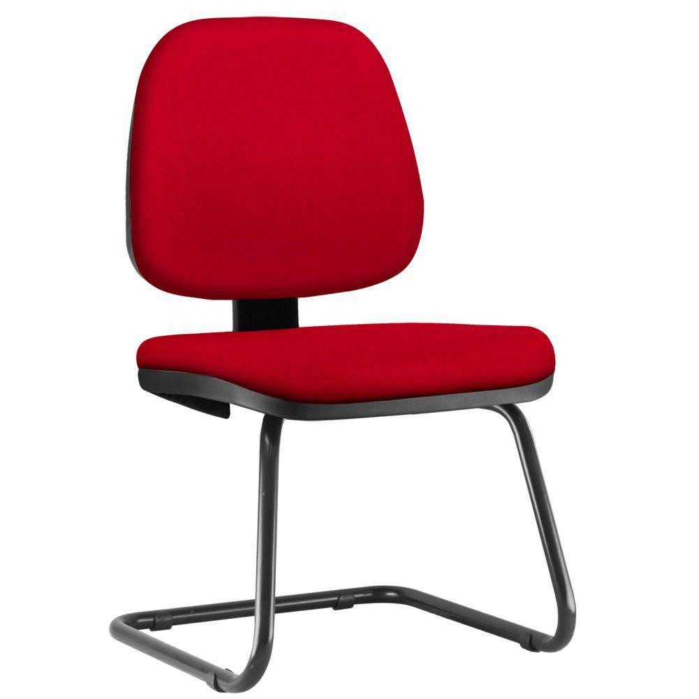 Cadeira Para Escritório Job L02 Fixa Suede Vermelho - Lyam Decor
