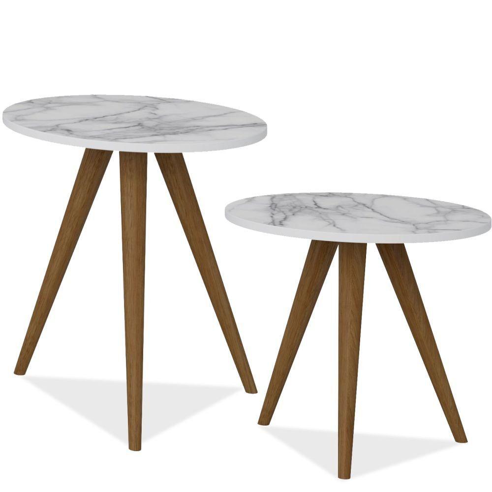 Conjunto Para Sala de Estar com Mesa de Canto e Mesa Lateral Retrô Branco Carrara - Be Mobiliário