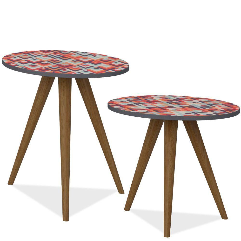 Conjunto Para Sala de Estar com Mesa de Canto e Mesa Lateral Retrô Espresso Estampa Vermelha - Be Mobiliário