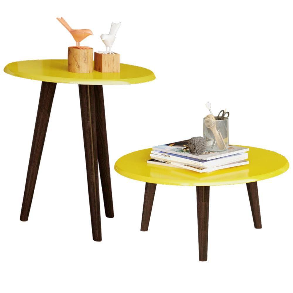 Conjunto Para Sala de Estar com Mesa de Centro e Mesa Lateral B02 Amarelo Brilho - Lyam Decor