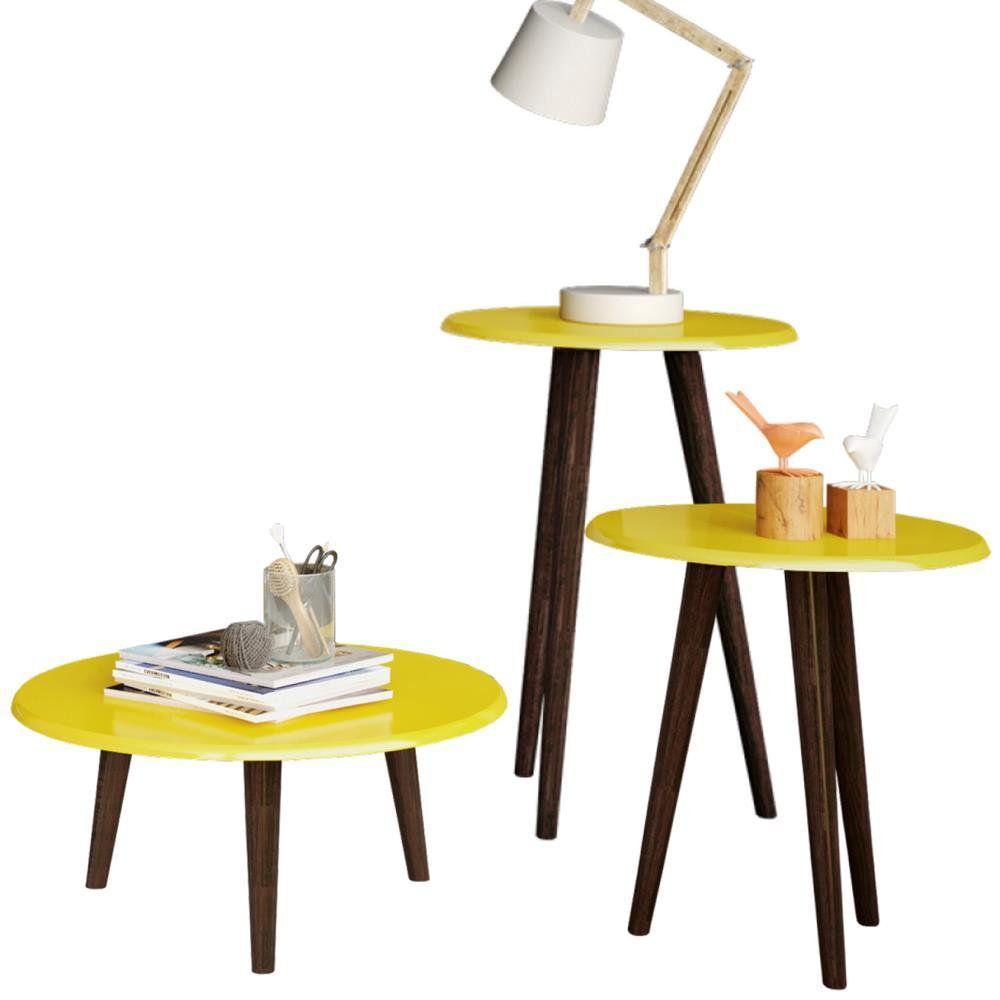 Conjunto para Sala de Estar com Mesa de Centro e Mesas Laterais B02 Amarelo Brilho - Lyam Decor