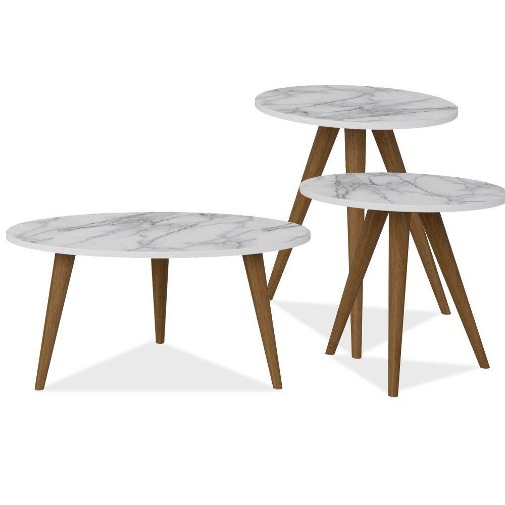 Conjunto Para Sala de Estar com Mesa de Centro e Mesas Laterais Retrô Branco Carrara - Be Mobiliário