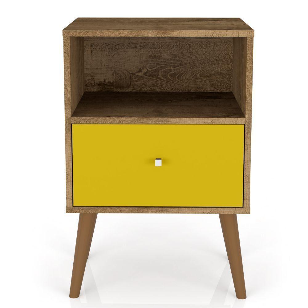 Mesa de Cabeceira com 01 Gaveta MB 2014 B02 Madeira Rústica Amarelo - Lyam Decor