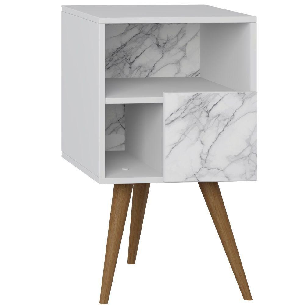 Mesa de Cabeceira com Porta Retrô Branco Carrara - Be Mobiliário