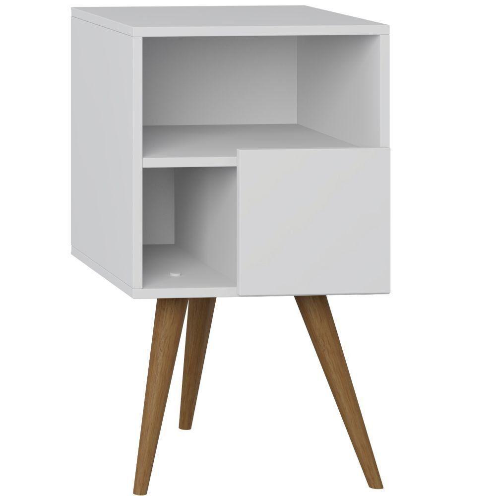 Mesa de Cabeceira com Porta Retrô Branco TX - Be Mobiliário