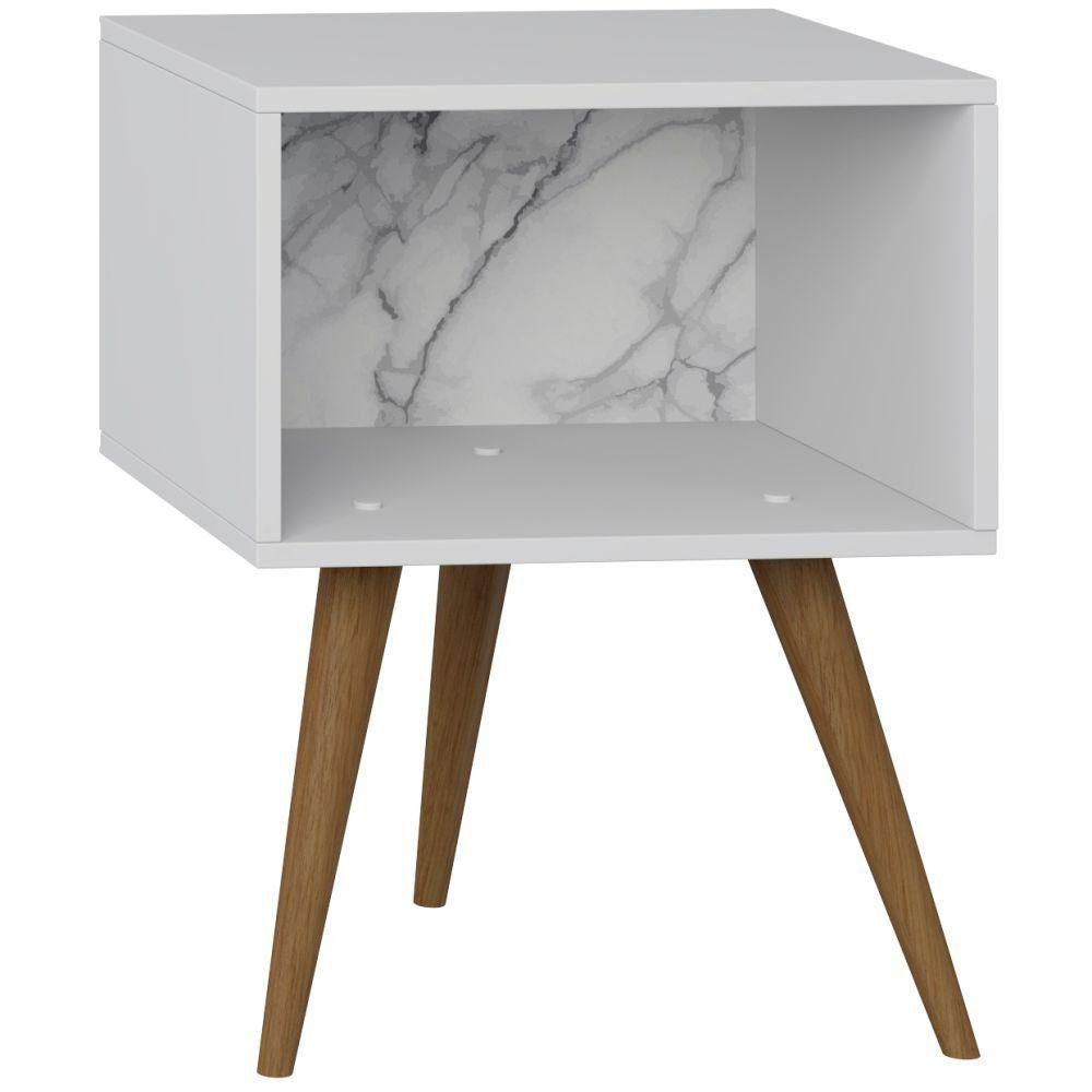 Mesa de Cabeceira Retrô Branco Carrara - Be Mobiliário