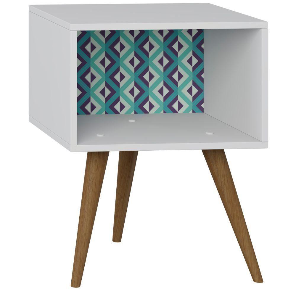 Mesa de Cabeceira Retrô Branco Estampa Azul - Be Mobiliário