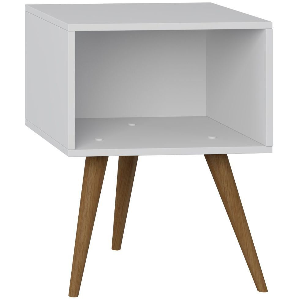 Mesa de Cabeceira Retrô Branco TX - Be Mobiliário