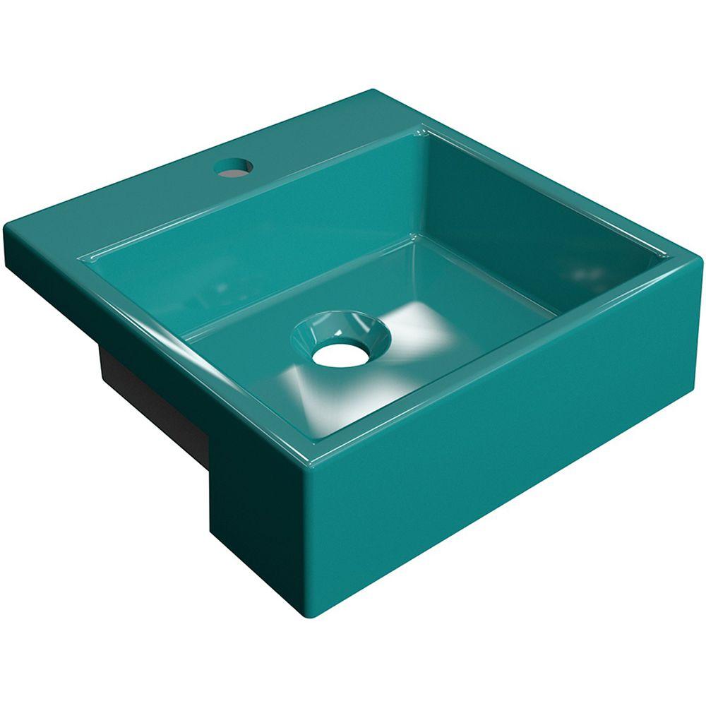 Cuba de Semi Encaixe Quadrada C01 Para Banheiro XQ355 Azul Turquesa - Lyam Decor