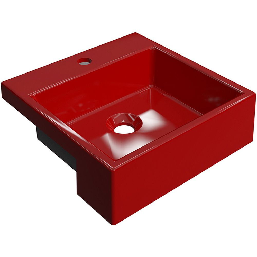 Cuba de Semi Encaixe Quadrada C01 Para Banheiro XQ355 Vermelho - Lyam Decor