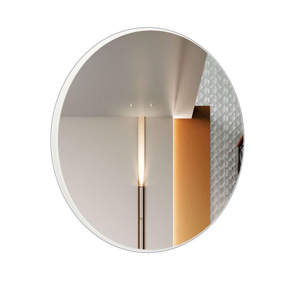 Espelho Decorativo Redondo Winter D03 30 cm Moldura Off White Brilho - Lyam Decor