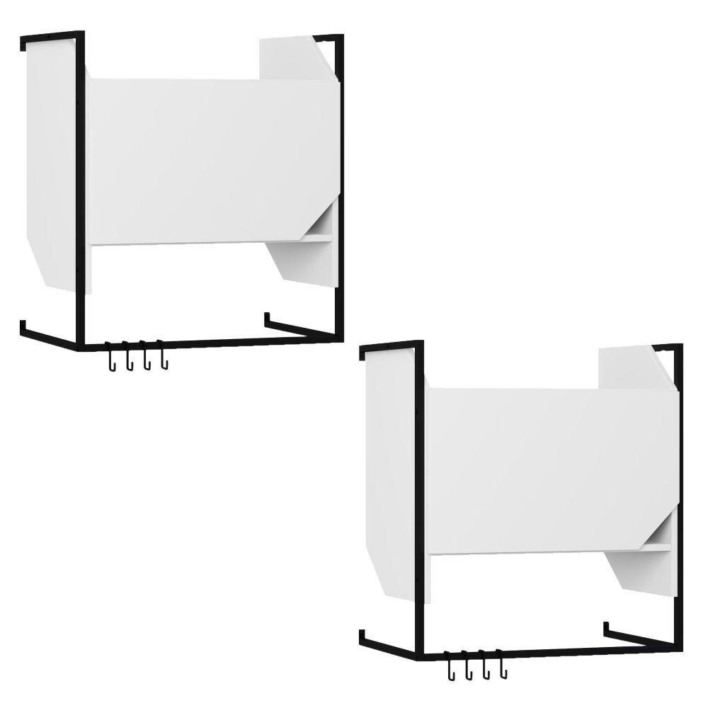 Kit 02 Armários Aéreos Com Porta e Suporte Metálico Com Ganchos Soul Branco TX - Be Mobiliário