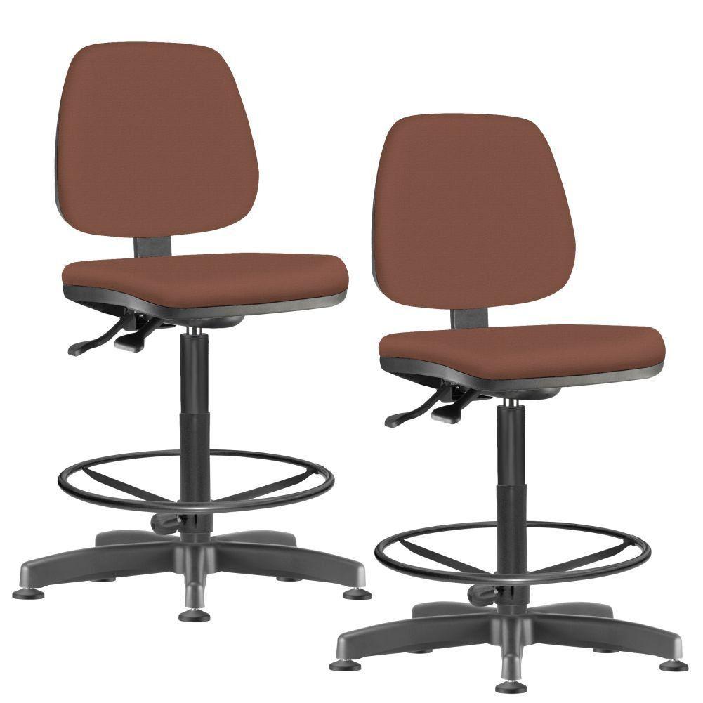 Kit 02 Cadeiras Caixa Alta Giratória Job L02 Couro Sintético Camel - Lyam Decor
