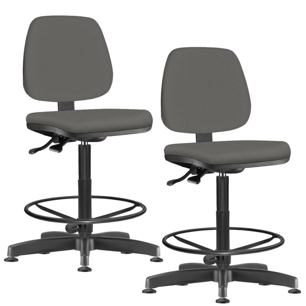 Kit 02 Cadeiras Caixa Alta Giratória Job L02 Couro Sintético Cinza - Lyam Decor