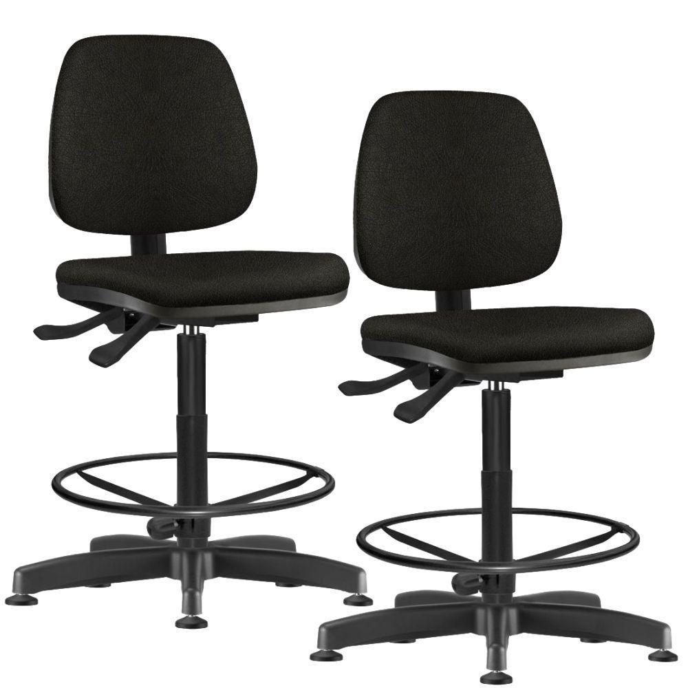 Kit 02 Cadeiras Caixa Alta Giratória Job L02 Couro Sintético Preto - Lyam Decor