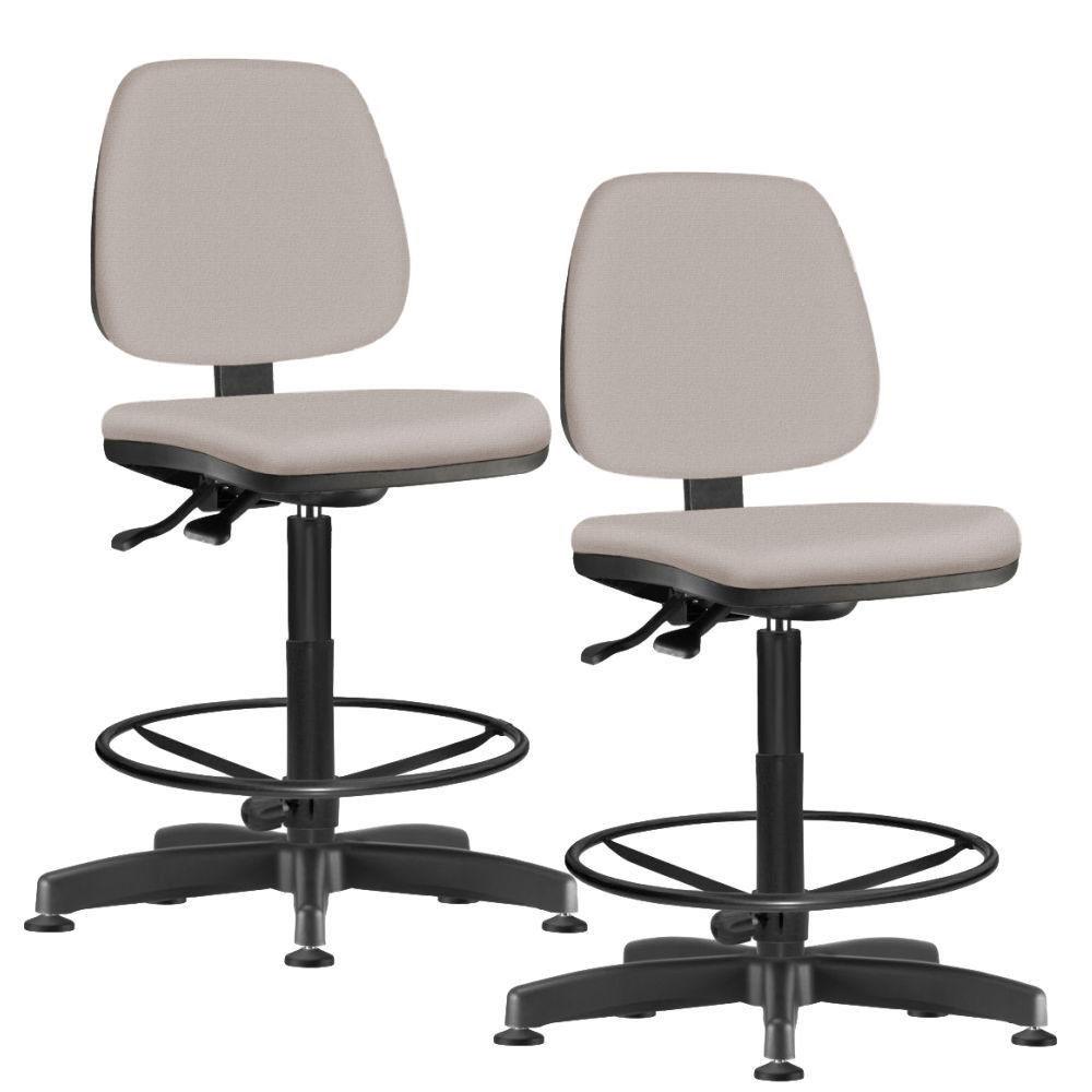 Kit 02 Cadeiras Caixa Alta Giratória Job L02 Linho Bege - Lyam Decor