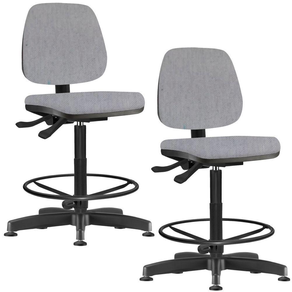 Kit 02 Cadeiras Caixa Alta Giratória Job L02 Linho Cinza - Lyam Decor