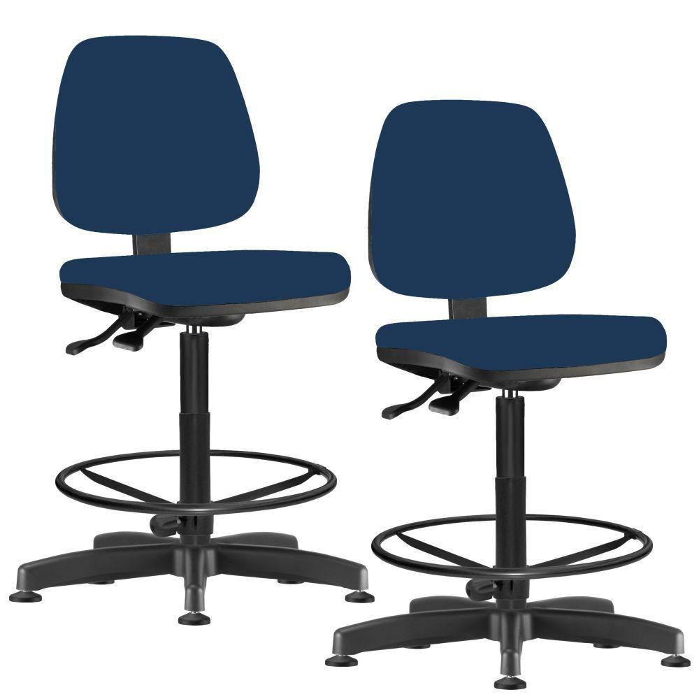 Kit 02 Cadeiras Caixa Alta Giratória Job L02 Crepe Azul Marinho - Lyam Decor