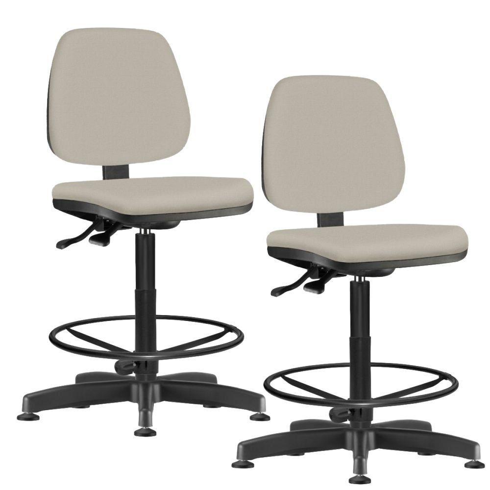 Kit 02 Cadeiras Caixa Alta Giratória Job L02 Suede Bege - Lyam Decor
