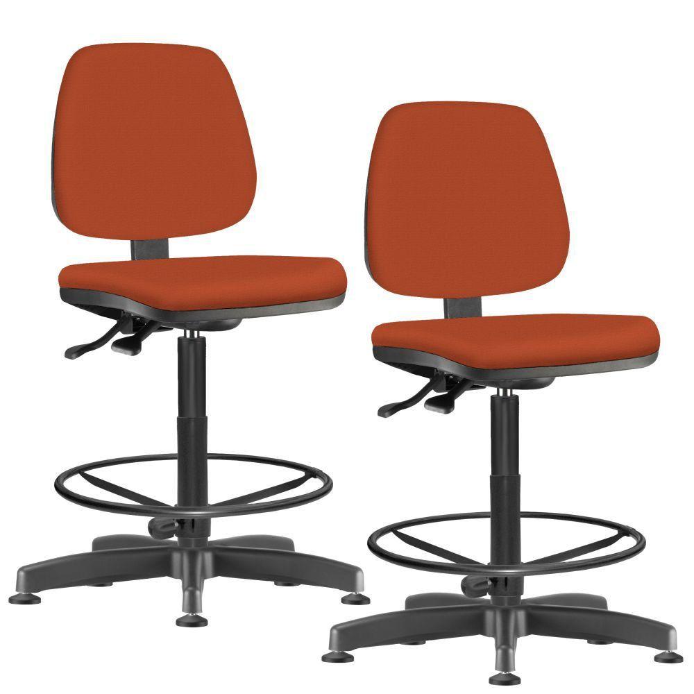 Kit 02 Cadeiras Caixa Alta Giratória Job L02 Suede Laranja - Lyam Decor