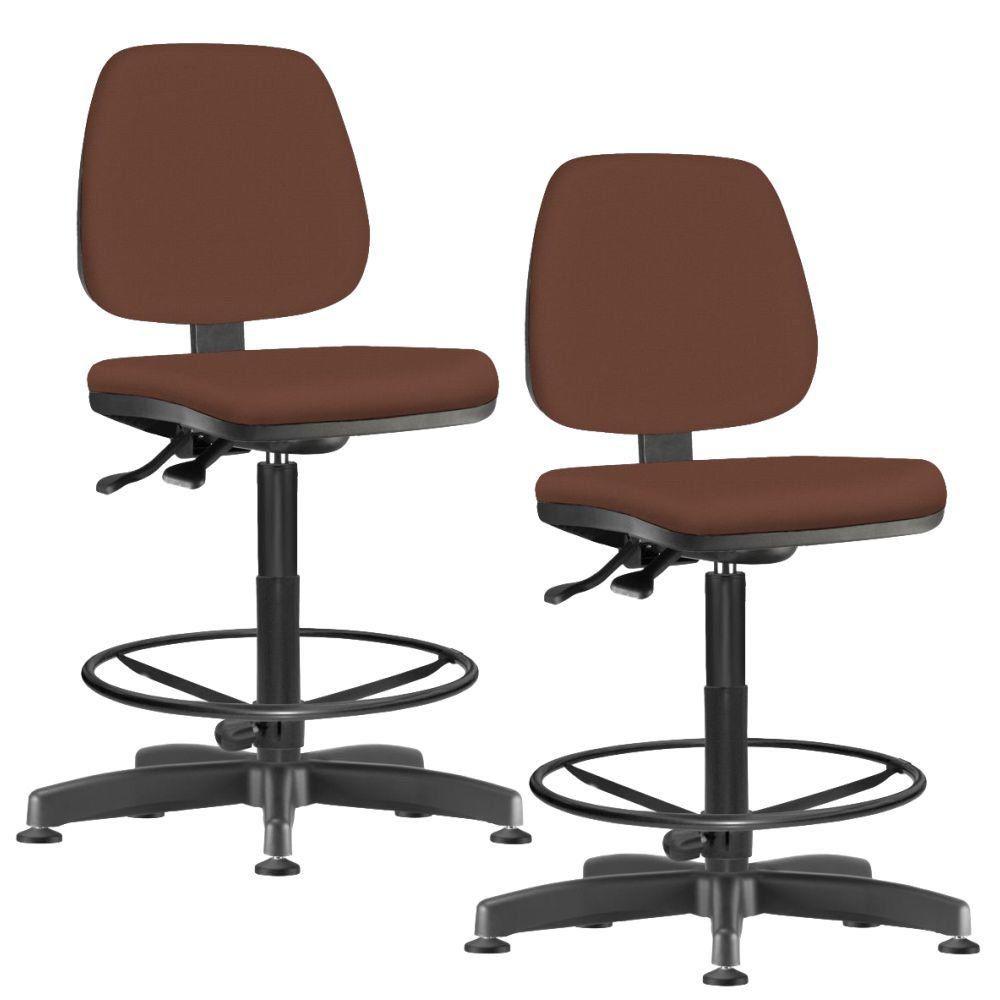 Kit 02 Cadeiras Caixa Alta Giratória Job L02 Suede Marrom - Lyam Decor