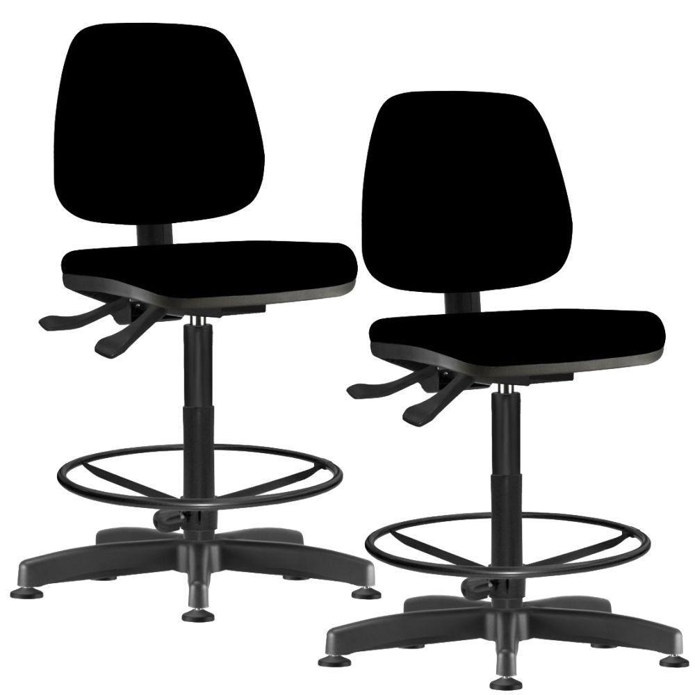 Kit 02 Cadeiras Caixa Alta Giratória Job L02 Crepe Preto - Lyam Decor