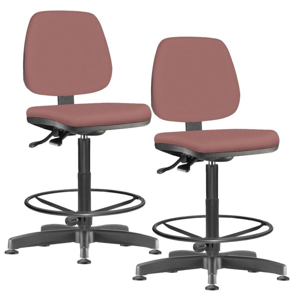 Kit 02 Cadeiras Caixa Alta Giratória Job L02 Suede Rosê - Lyam Decor