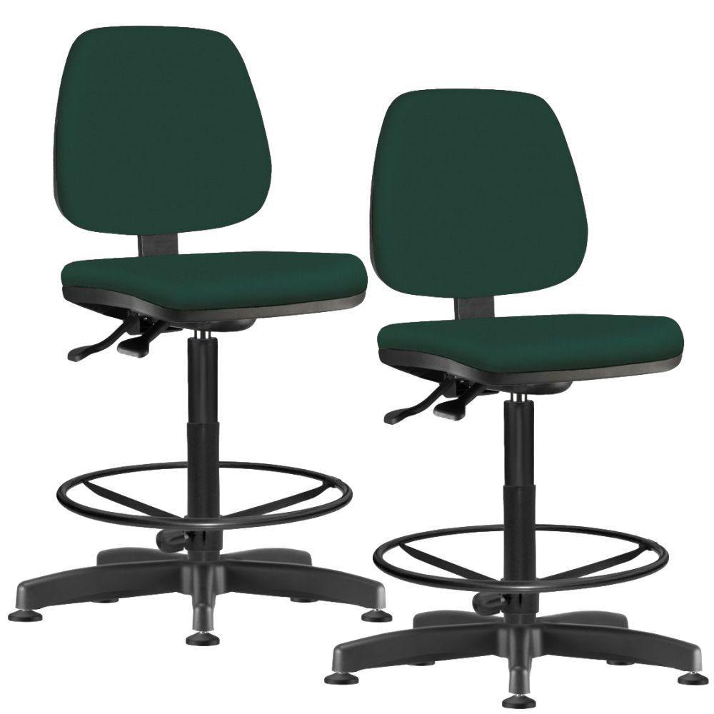Kit 02 Cadeiras Caixa Alta Giratória Job L02 Crepe Verde Musgo - Lyam Decor