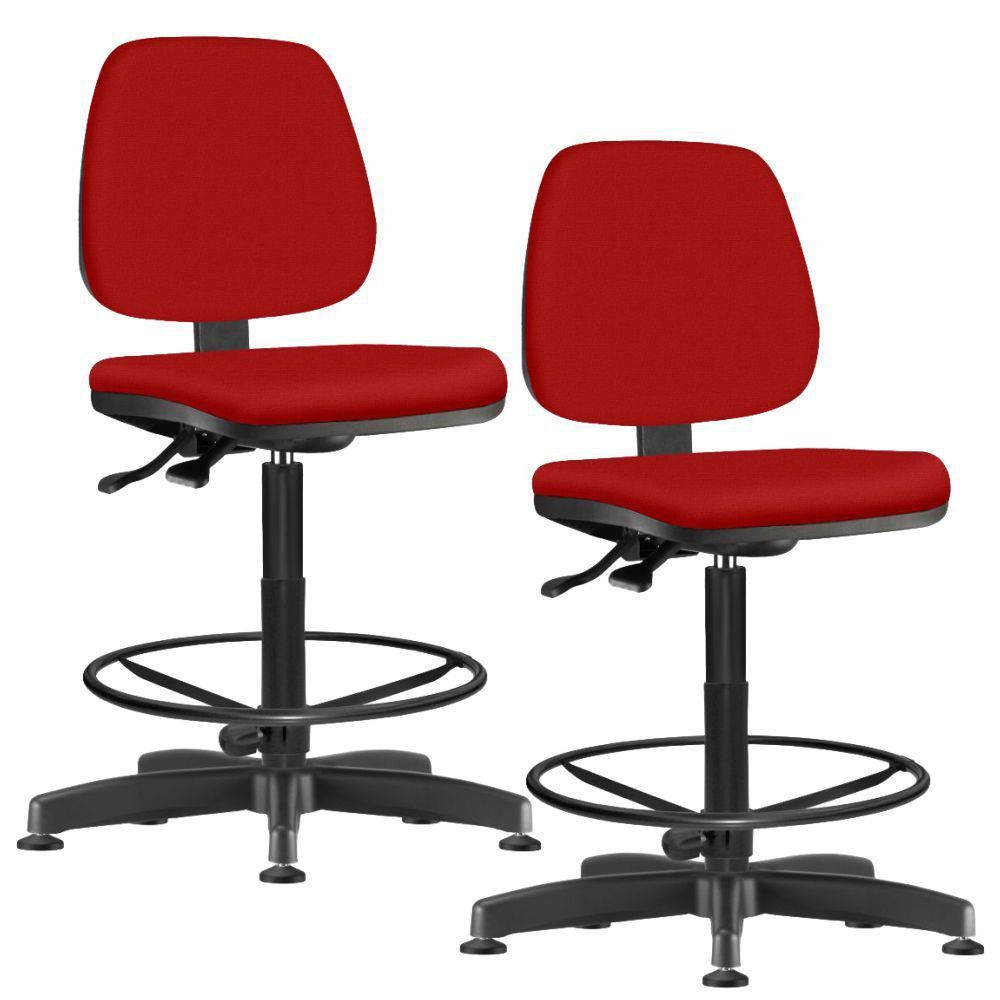 Kit 02 Cadeiras Caixa Alta Giratória Job L02 Suede Vermelho - Lyam Decor
