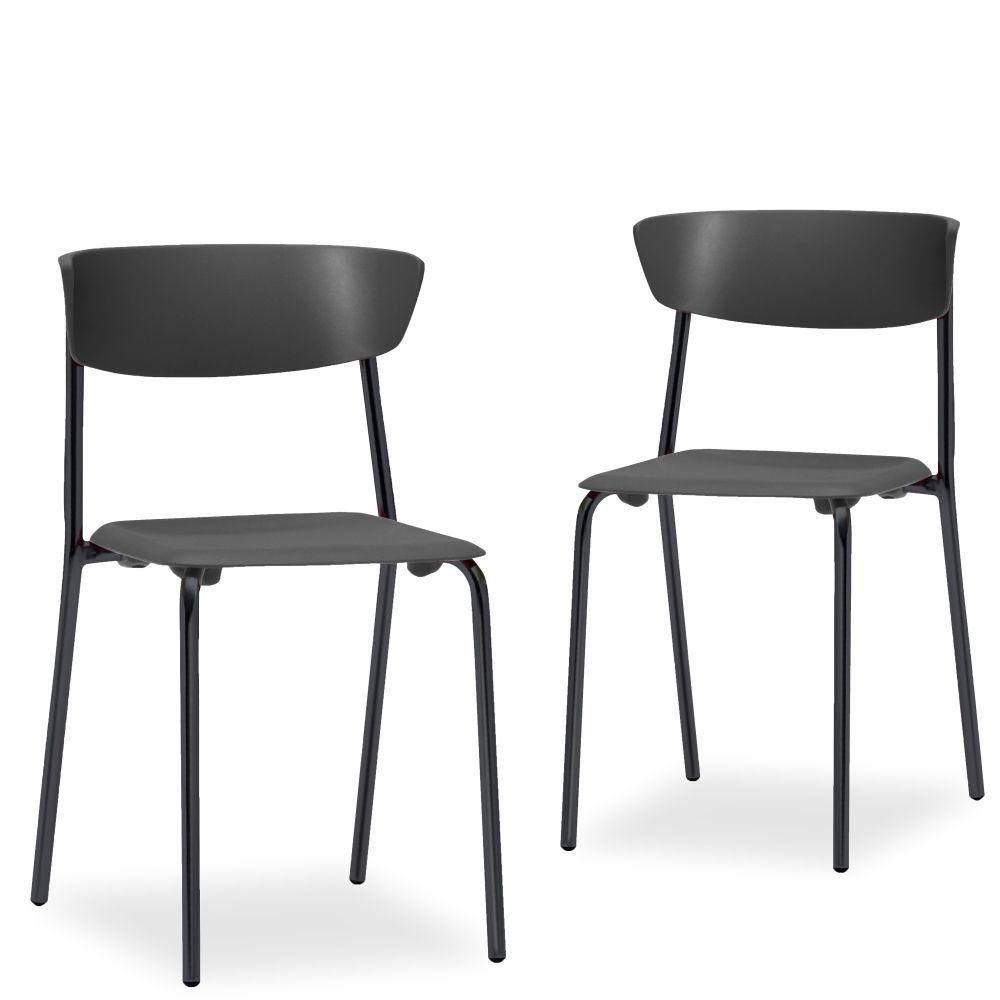 Kit 02 Cadeiras Fixa Base Preta Empilhável Bit F02 Preto - Lyam Decor