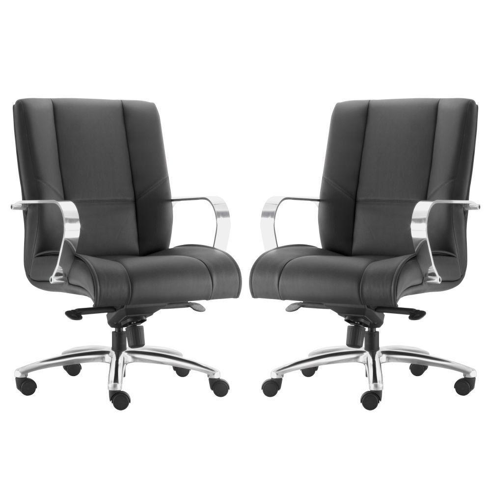 Kit 02 Cadeiras de Escritório Diretor Executiva New Onix F02 Couro Ecológico Preto - Lyam Decor