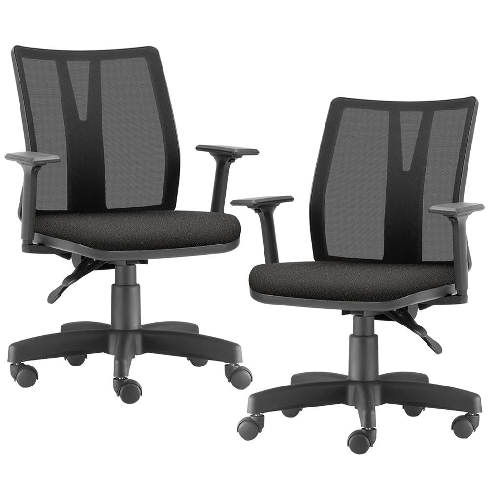 Kit 02 Cadeiras de Escritório Diretor Giratória Executiva Addit F02 Crepe Preto - Lyam Decor