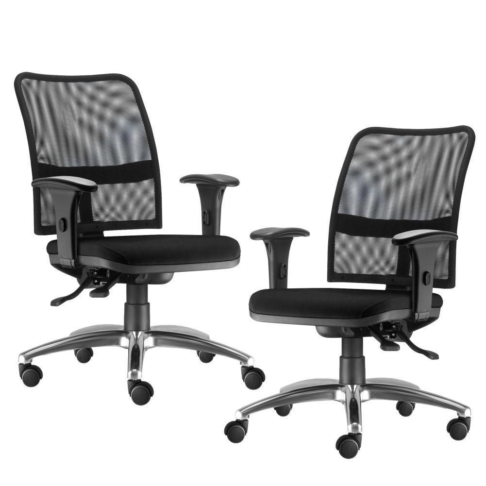 Kit 02 Cadeiras de Escritório Executiva Giratória Soul L02 Cromado Couro Sintético Preto - Lyam Decor