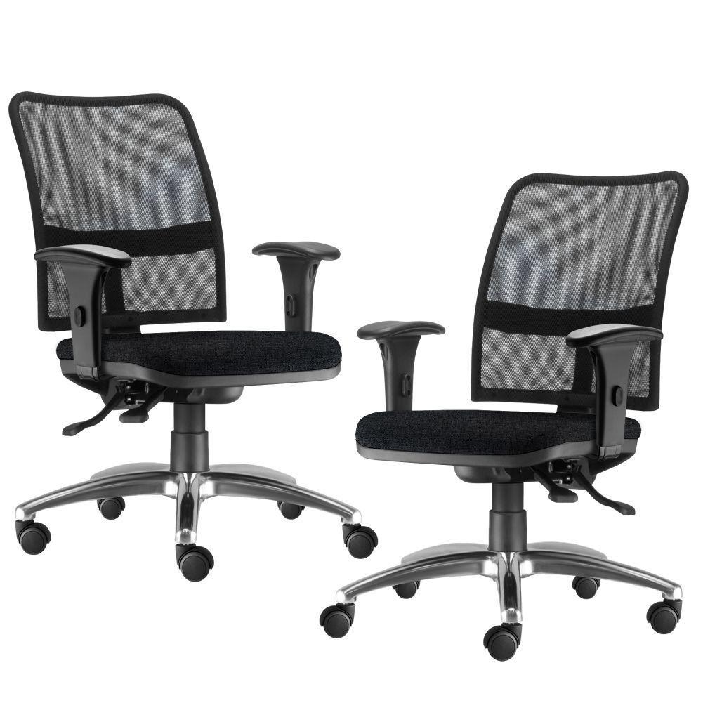 Kit 02 Cadeiras de Escritório Executiva Giratória Soul L02 Cromado Linho Chumbo - Lyam Decor