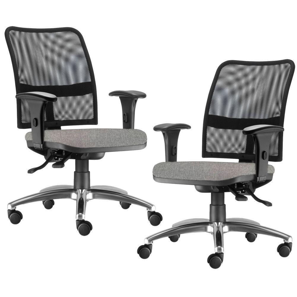 Kit 02 Cadeiras de Escritório Executiva Giratória Soul L02 Cromado Linho Cinza Escuro - Lyam Decor