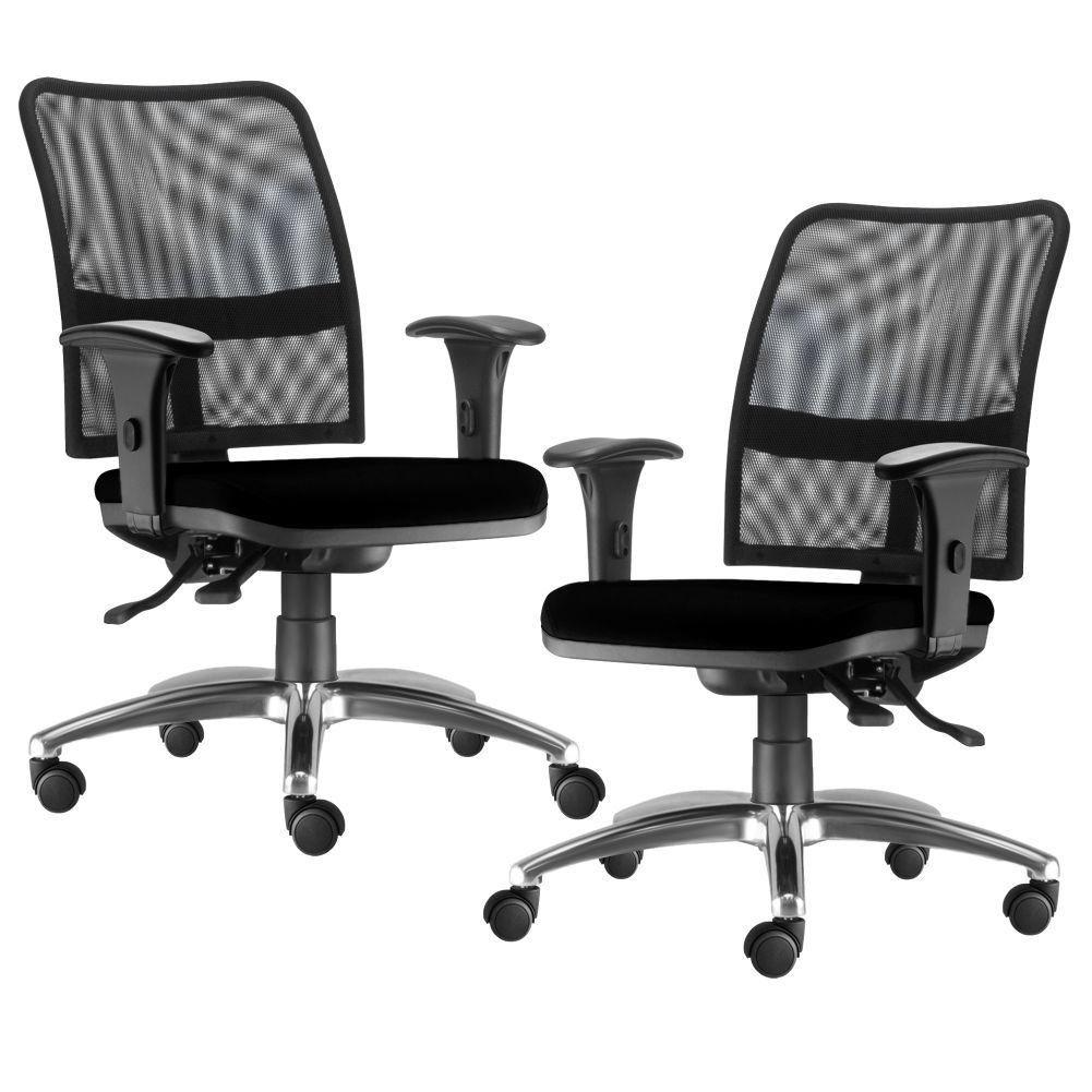 Kit 02 Cadeiras de Escritório Executiva Giratória Soul L02 Cromado Crepe Preto - Lyam Decor