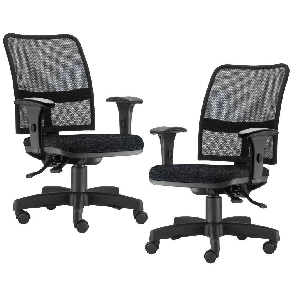 Kit 02 Cadeiras de Escritório Executiva Giratória Soul L02 Preto Linho Chumbo - Lyam Decor