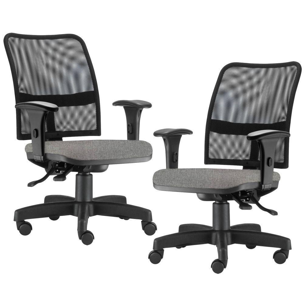 Kit 02 Cadeiras de Escritório Executiva Giratória Soul L02 Preto Linho Cinza Escuro - Lyam Decor