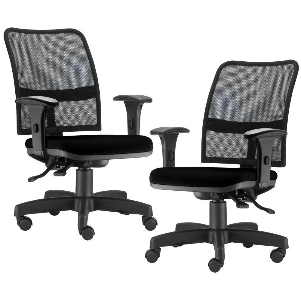 Kit 02 Cadeiras de Escritório Executiva Giratória Soul L02 Preto Crepe Preto - Lyam Decor