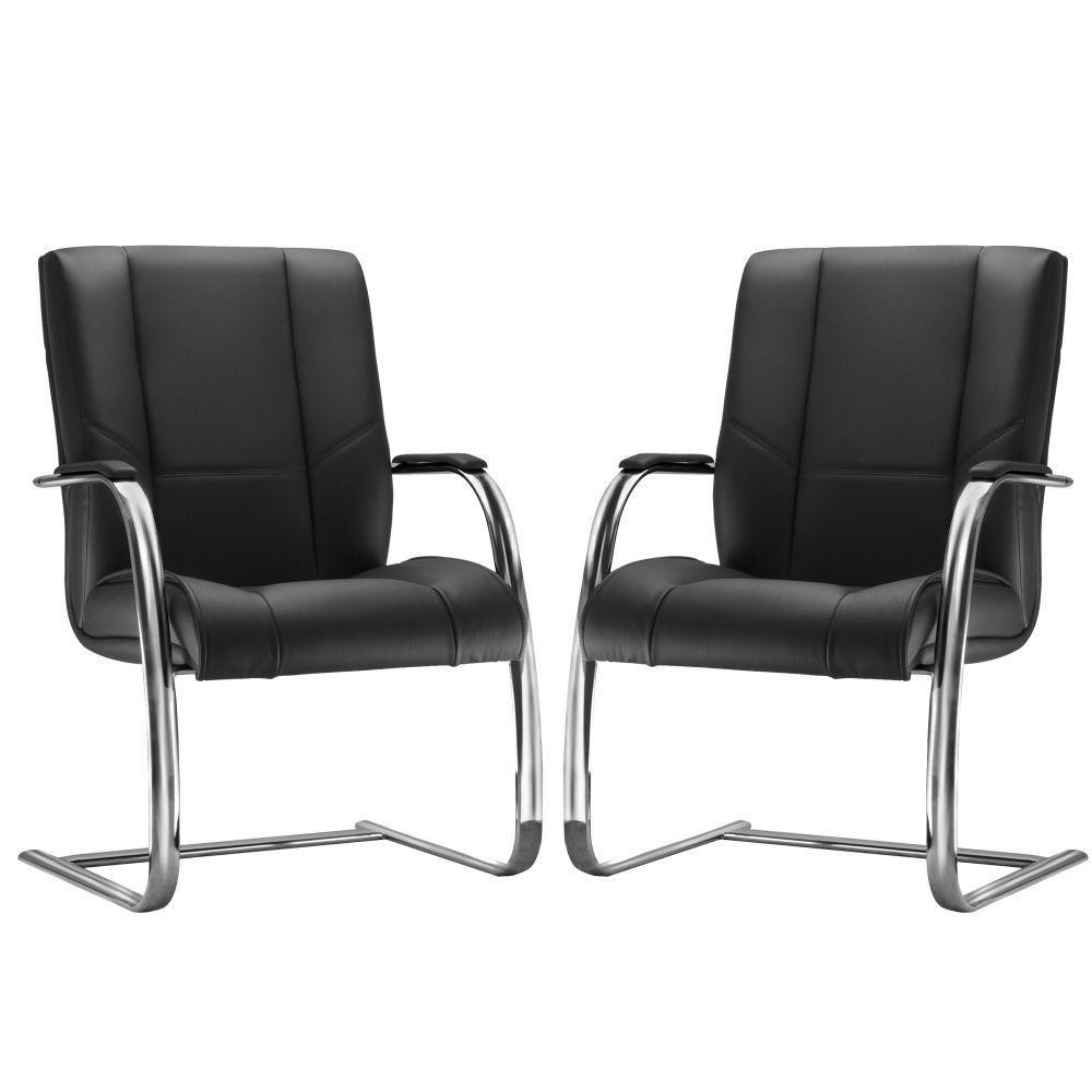 Kit 02 Cadeiras de Escritório Fixa Executiva New Onix F02 Couro Ecológico Preto - Lyam Decor