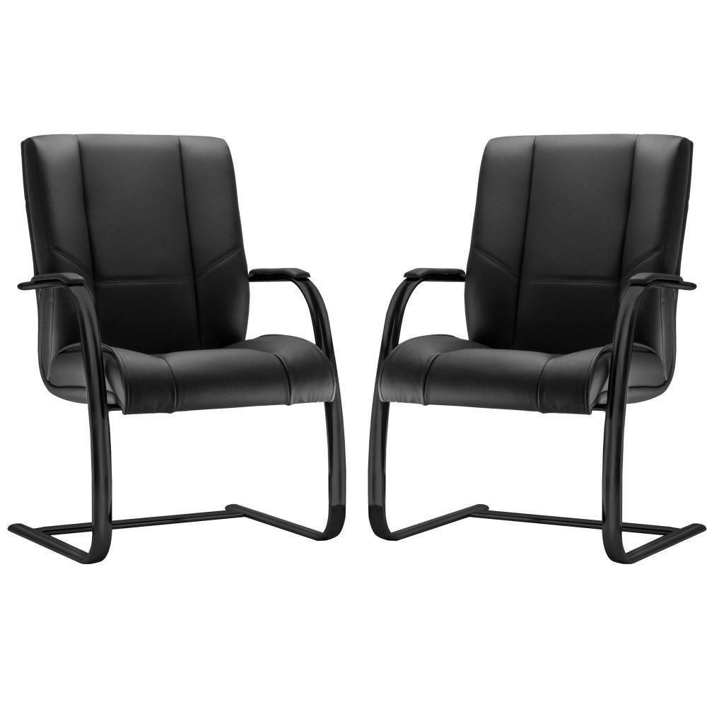 Kit 02 Cadeiras de Escritório Fixa Preto Executiva New Onix F02 Couro Ecológico Preto - Lyam Decor