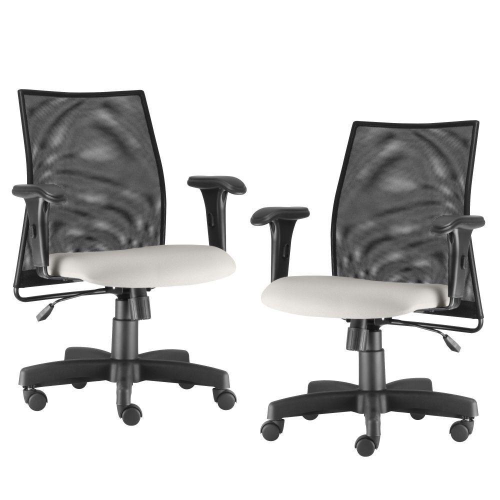 Kit 02 Cadeiras de Escritório Giratória Ergonômica Liss L02 Couro Sintético Branco - Lyam Decor