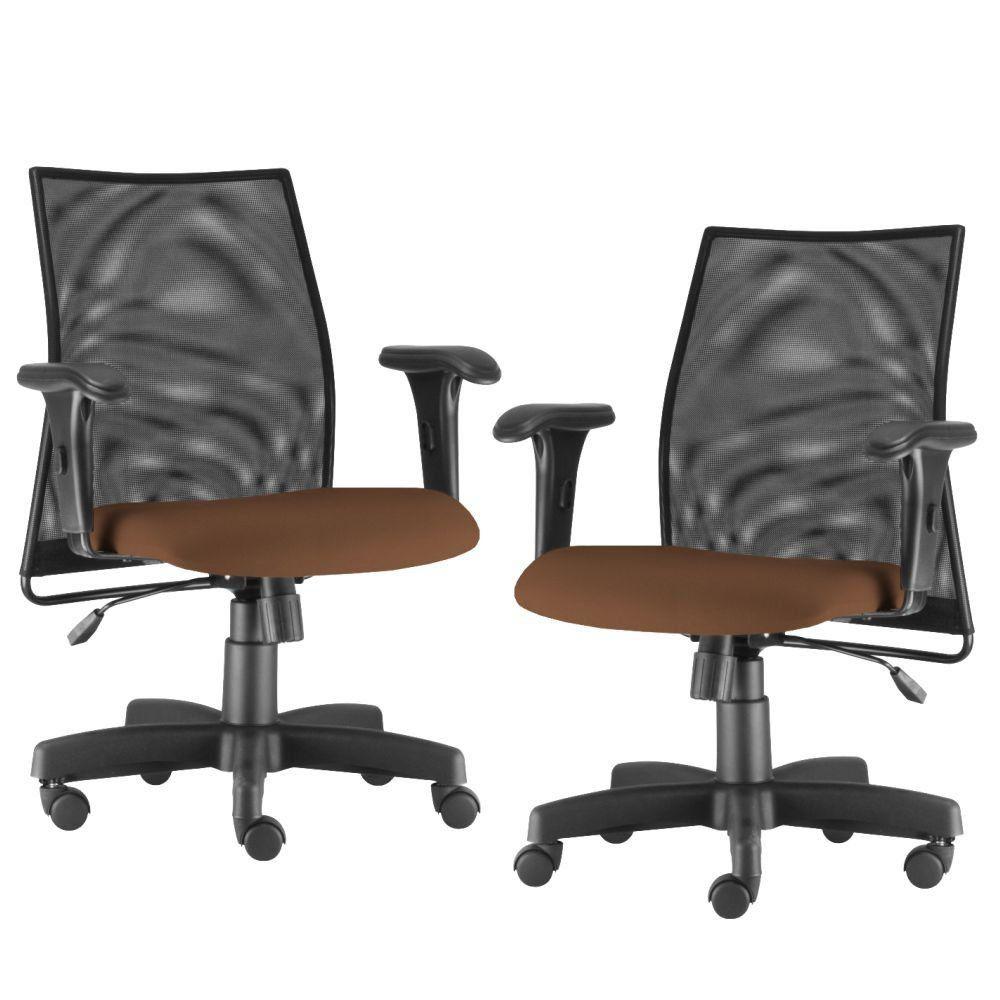 Kit 02 Cadeiras de Escritório Giratória Ergonômica Liss L02 Couro Sintético Camel - Lyam Decor