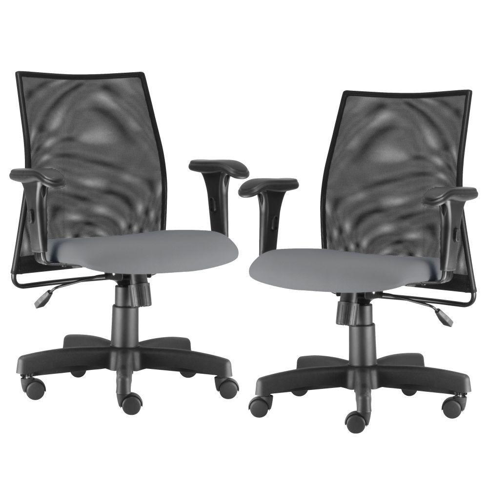 Kit 02 Cadeiras de Escritório Giratória Ergonômica Liss L02 Couro Sintético Cinza - Lyam Decor