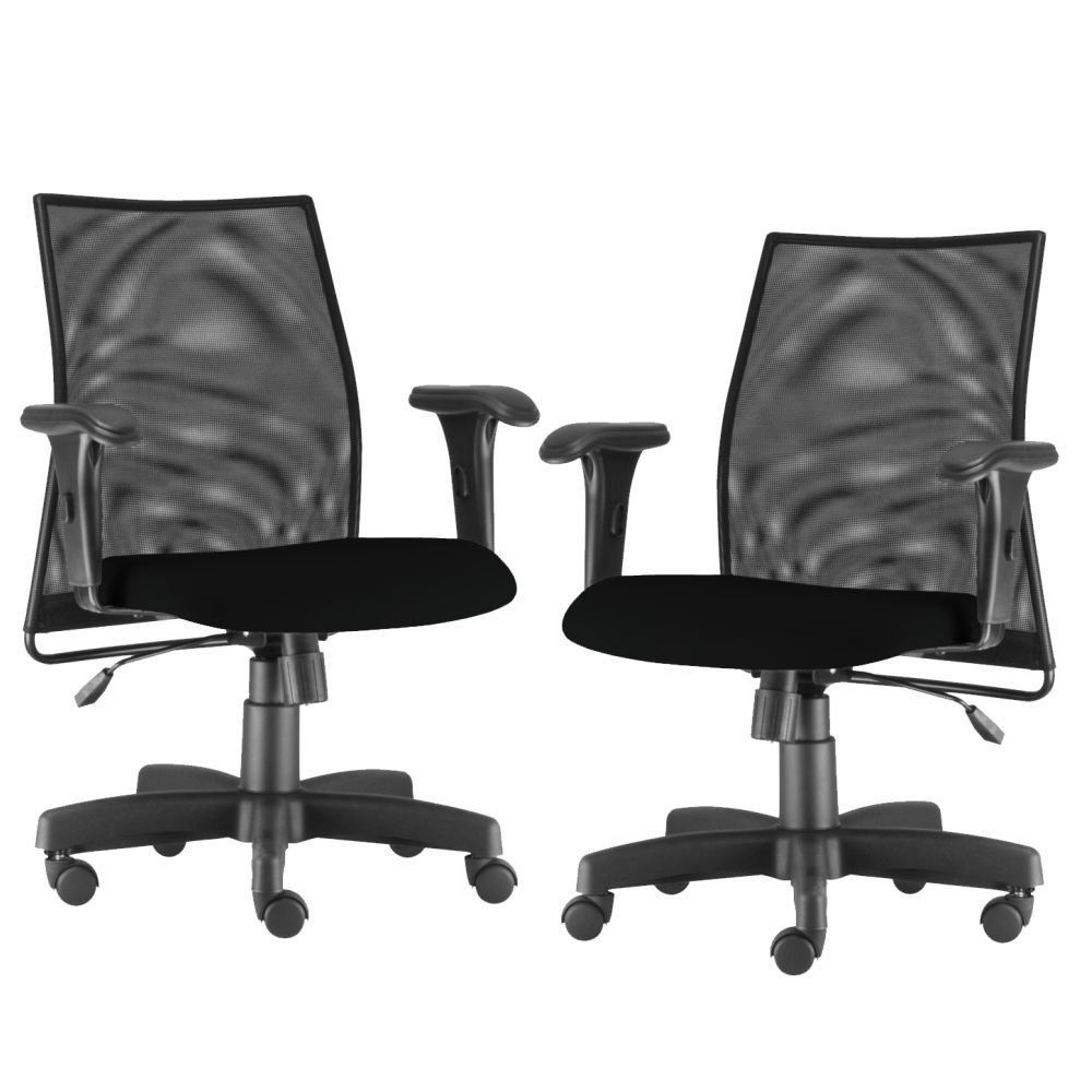 Kit 02 Cadeiras de Escritório Giratória Ergonômica Liss L02 Couro Sintético Preto - Lyam Decor